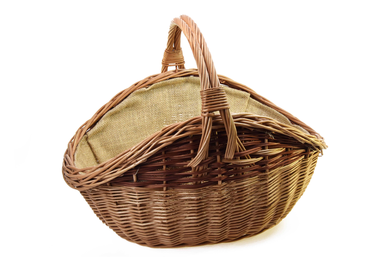 Koš na dřevo tvaru vejce se všitou pytlovinou Rozměry (cm): 58X47, v. 42 cm
